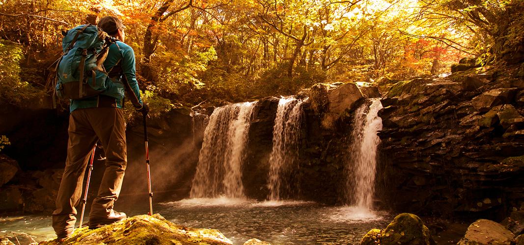 Wasserfall mit Herbststimmung.