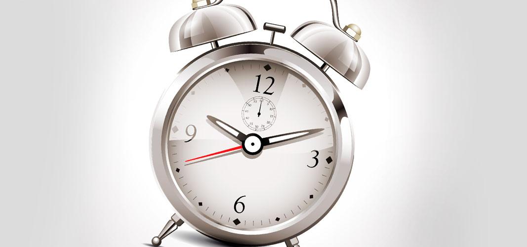 Halte dich an die Uhrzeit.