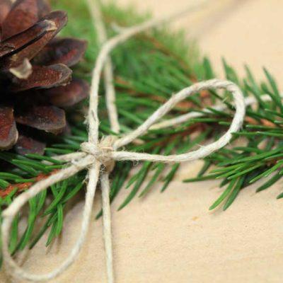 Weihnachtsverpackung-oekologisch-aus-packpapier-und-tannenzapfen