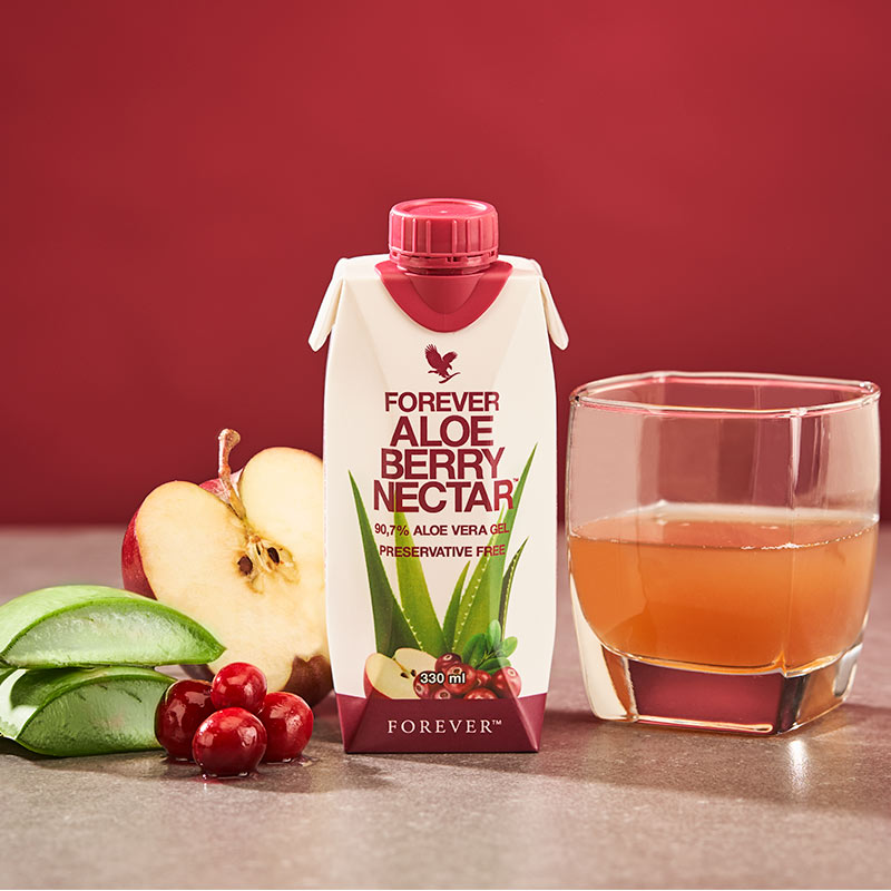 Aloe Vera, Cranberry & Äpfel.
